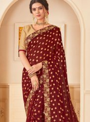 Patch Border Maroon Poly Silk Traditional Saree