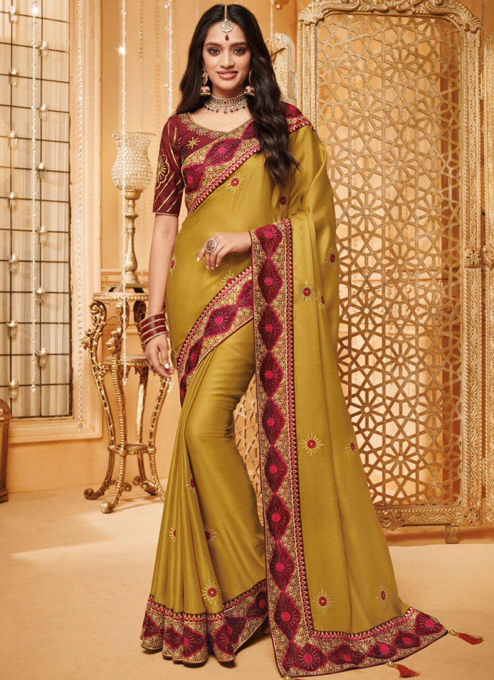 Patch Border Mustard Fancy Fabric Traditional Saree