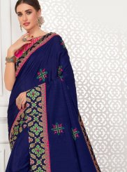 Patch Border Navy Blue Silk Saree