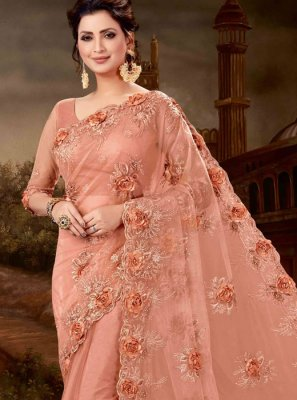 Patch Border Net Classic Designer Saree in Peach