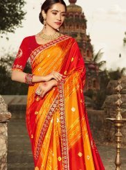 Patch Border Orange and Red Shaded Saree