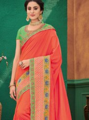 Patch Border Orange Art Silk Designer Traditional Saree