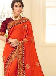 Patch Border Orange Satin Silk Designer Traditional Saree