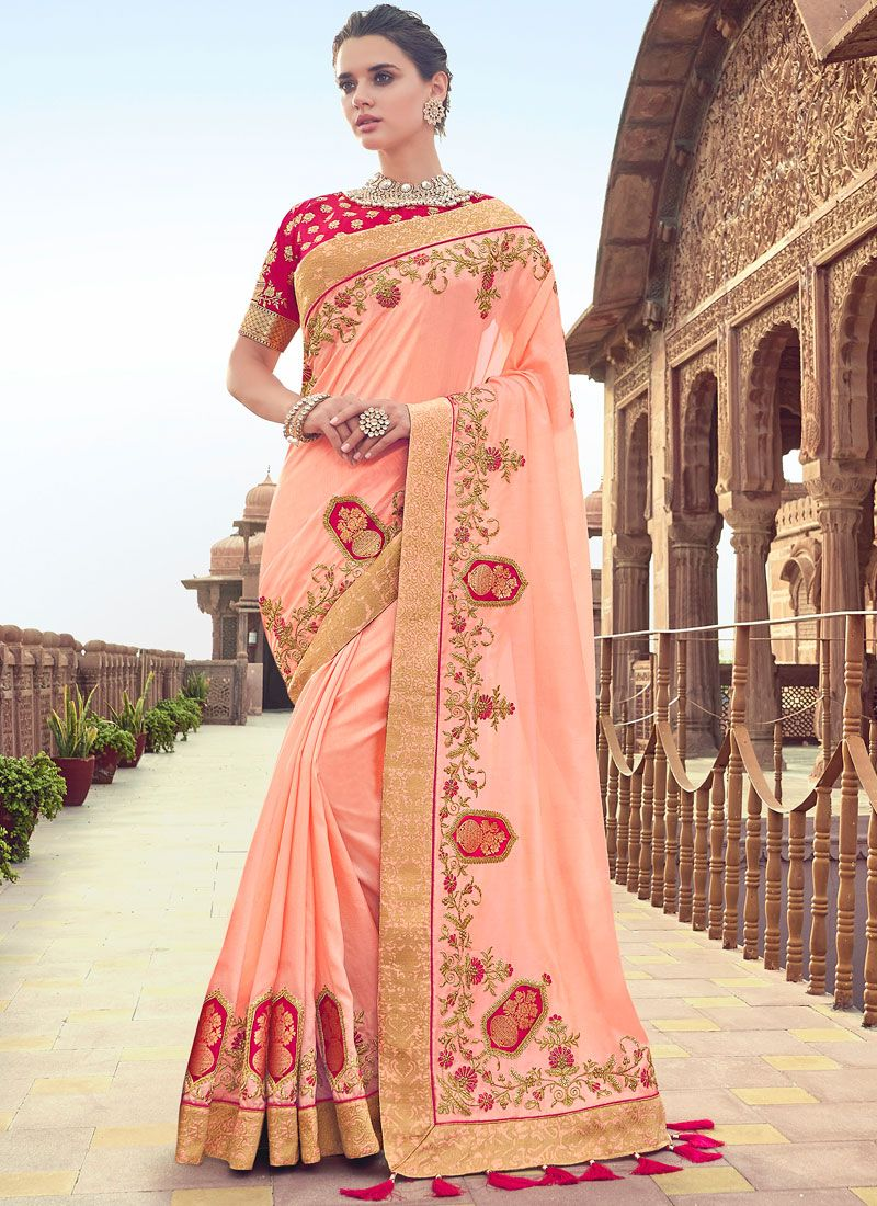 Patch Border Peach Art Silk Traditional Designer Saree