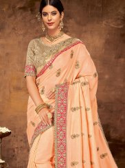 Patch Border Peach Designer Traditional Saree