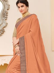 Patch Border Peach Traditional Saree
