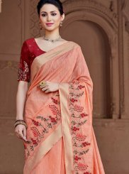 Patch Border Peach Viscose Traditional Saree