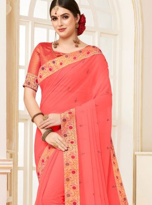 Patch Border Pink Faux Georgette Traditional Saree