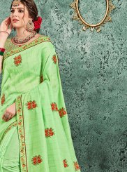 Patch Border Poly Silk Designer Traditional Saree