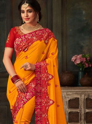 Patch Border Poly Silk Traditional Saree