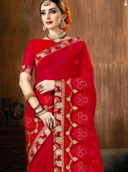 Patch Border Red Classic Saree