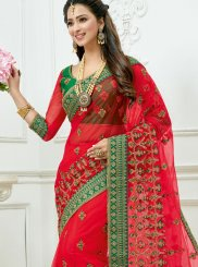 Patch Border Red Net Classic Designer Saree
