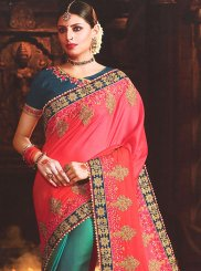 Patch Border Rose Pink and Teal Half N Half Designer Saree
