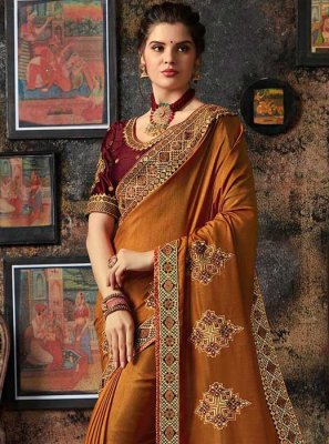 Patch Border Rust Traditional Designer Saree