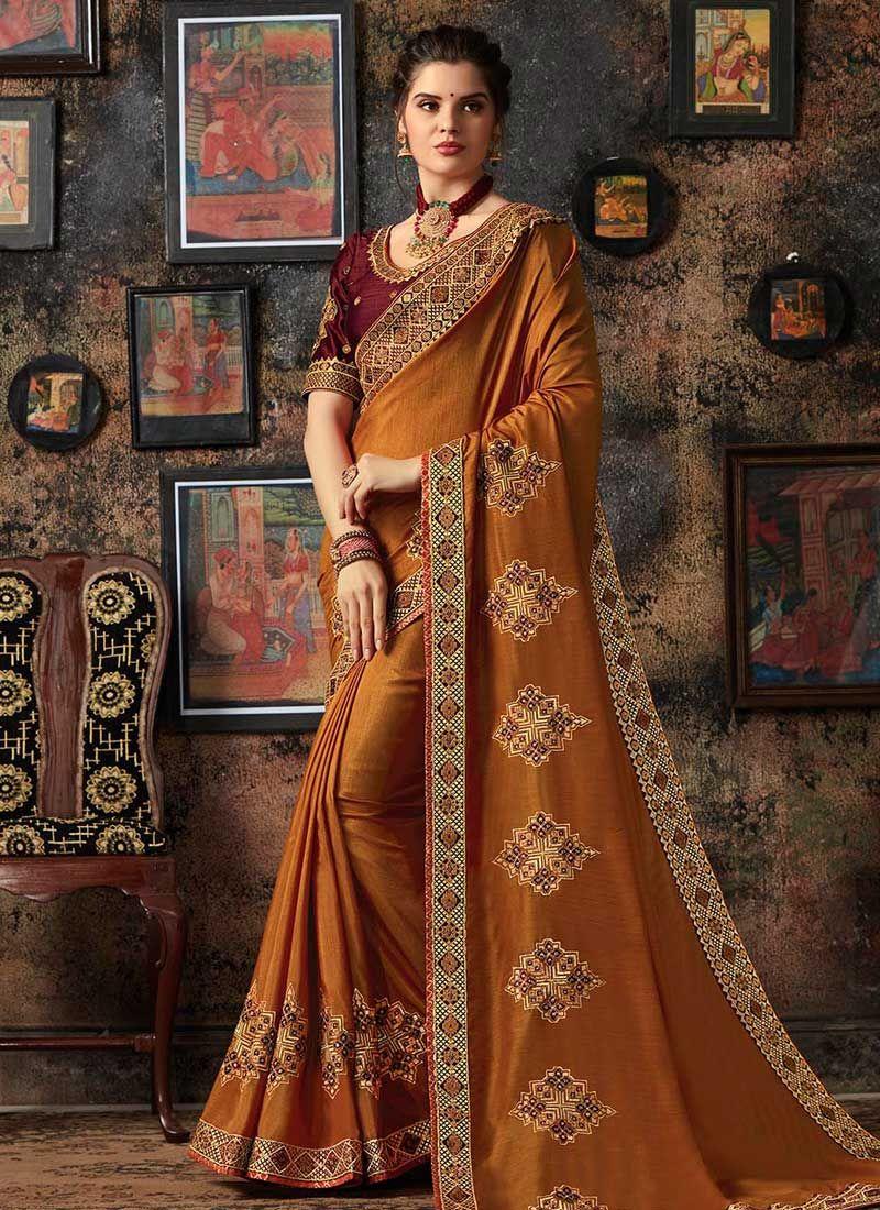 Patch Border Rust Traditional Designer Saree