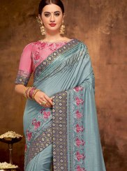Patch Border Satin Silk Designer Traditional Saree in Grey
