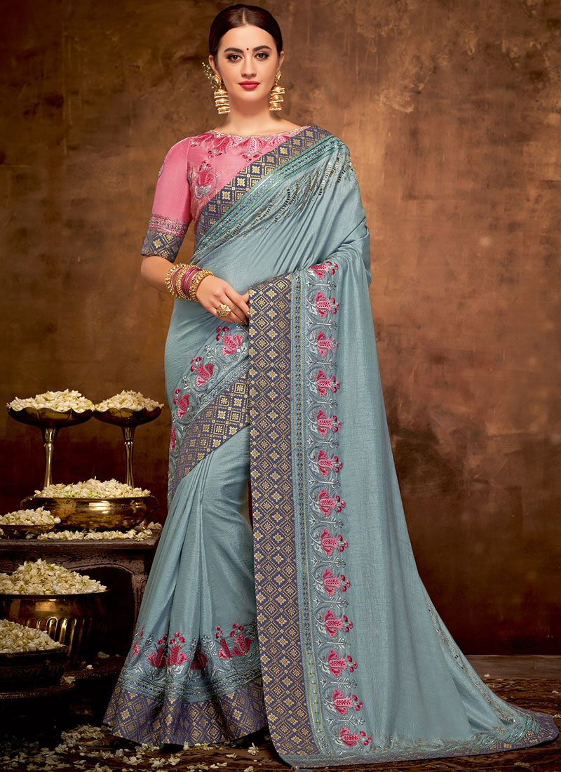 Patch Border Satin Silk Designer Traditional Saree in Grey