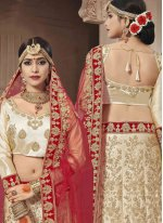 Patch Border Satin Silk Lehenga Choli in Beige