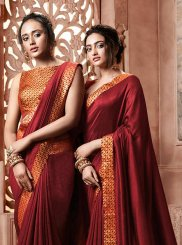 Patch Border Satin Silk Traditional Designer Saree in Maroon