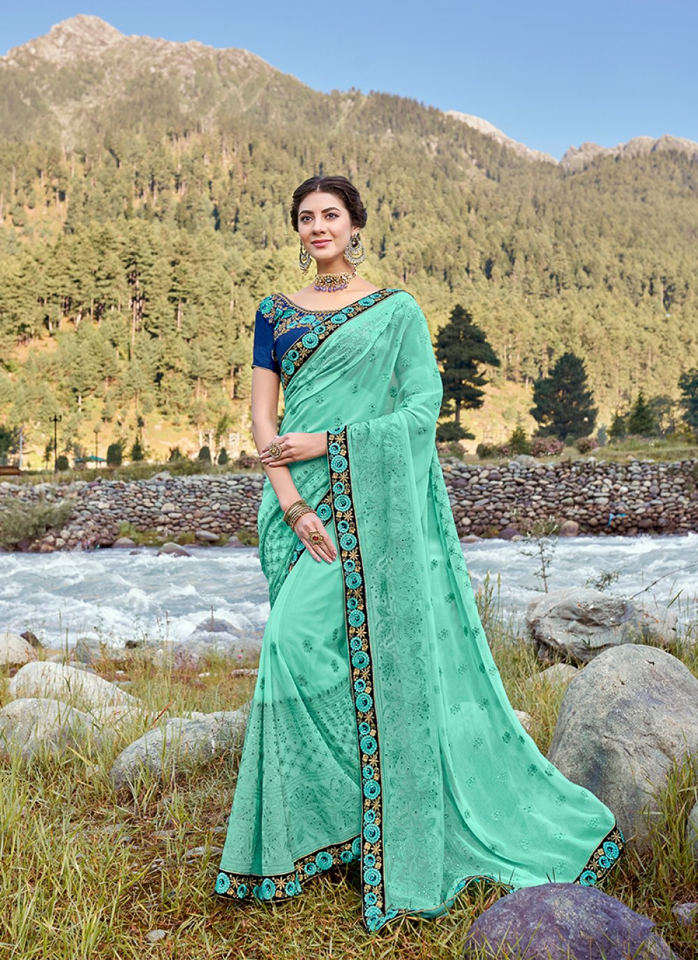 Patch Border Sea Green Faux Georgette Traditional Saree