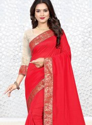 Patch Border Silk Casual Saree in Red