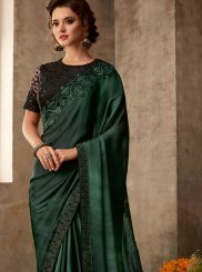 Patch Border Silk Green Classic Saree