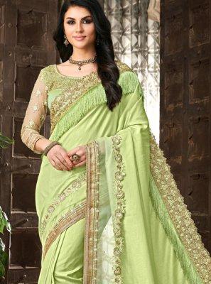 Patch Border Silk Silk Saree in Green