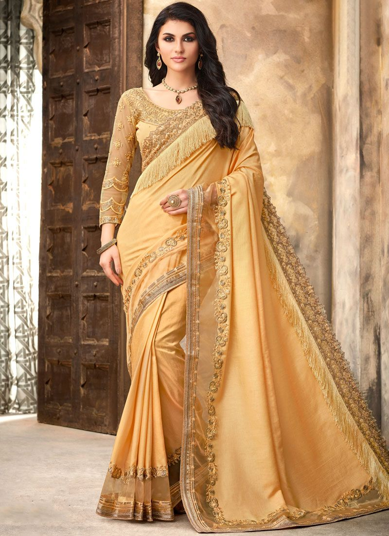 Patch Border Silk Trendy Saree in Yellow