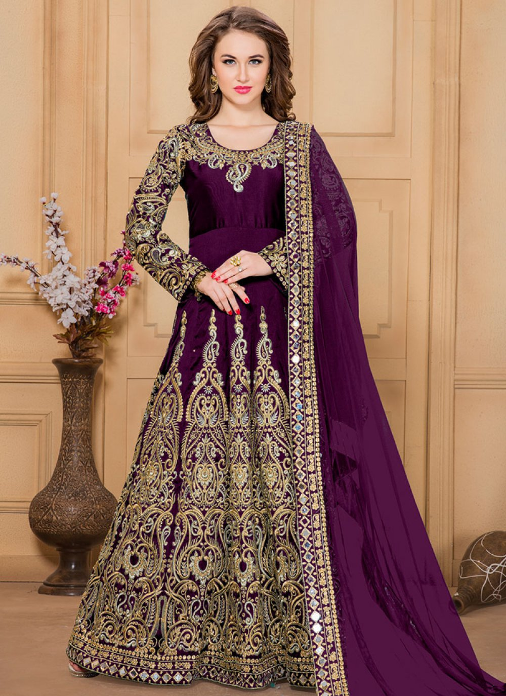 Patch Border Tafeta silk Designer Floor Length Suit in Wine