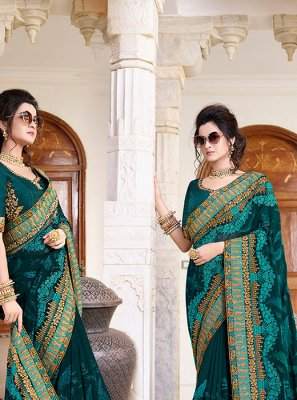 Patch Border Teal Faux Georgette Classic Designer Saree