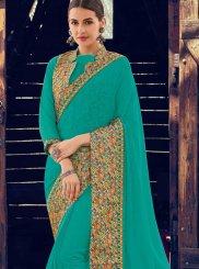 Patch Border Turquoise Designer Traditional Saree