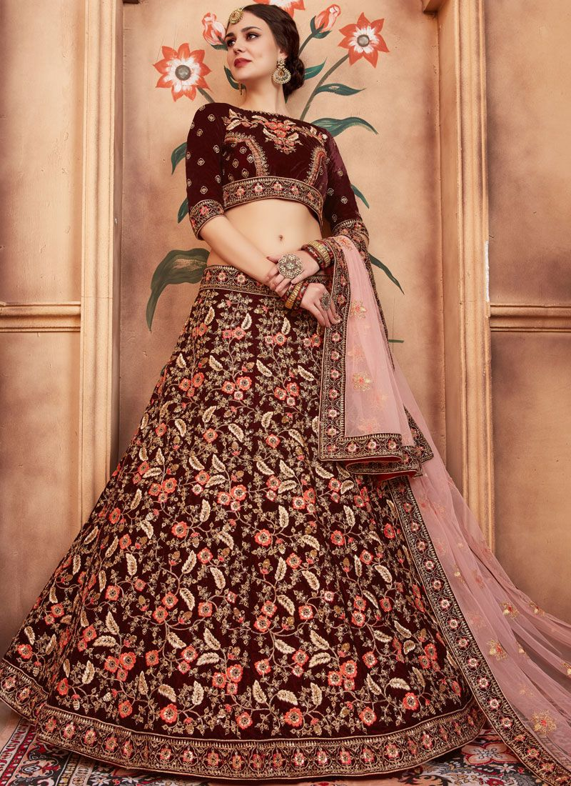 Patch Border Velvet Lehenga Choli
