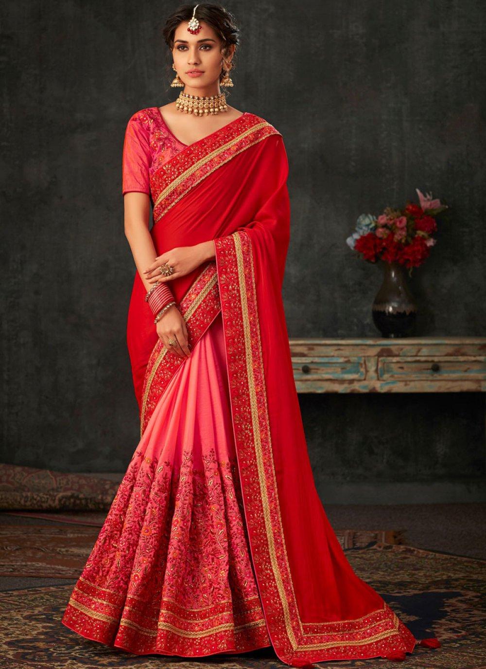 Patch Border Wedding Designer Half N Half Saree