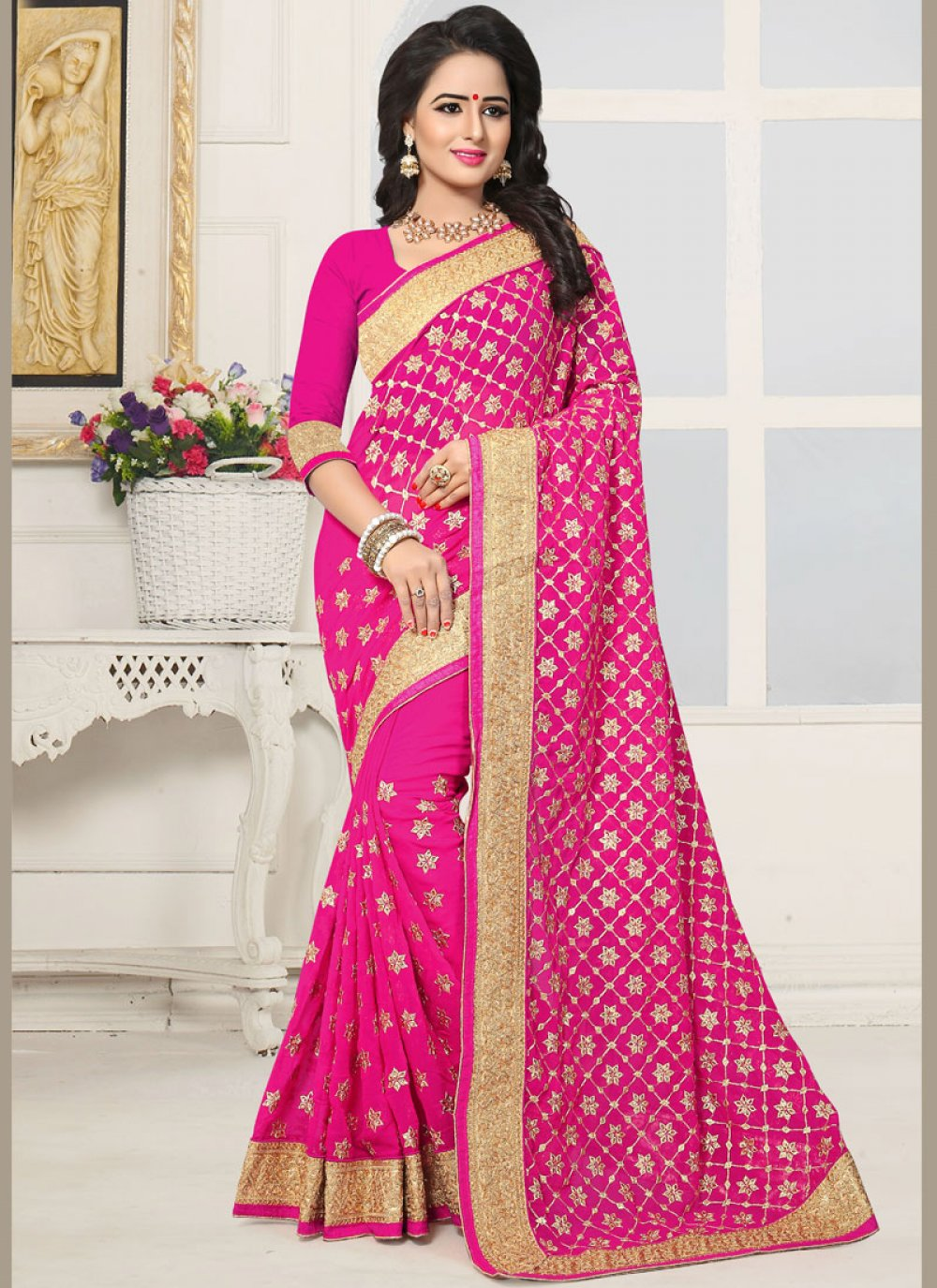 Patch Border Work Hot Pink Faux Georgette Classic Designer Saree