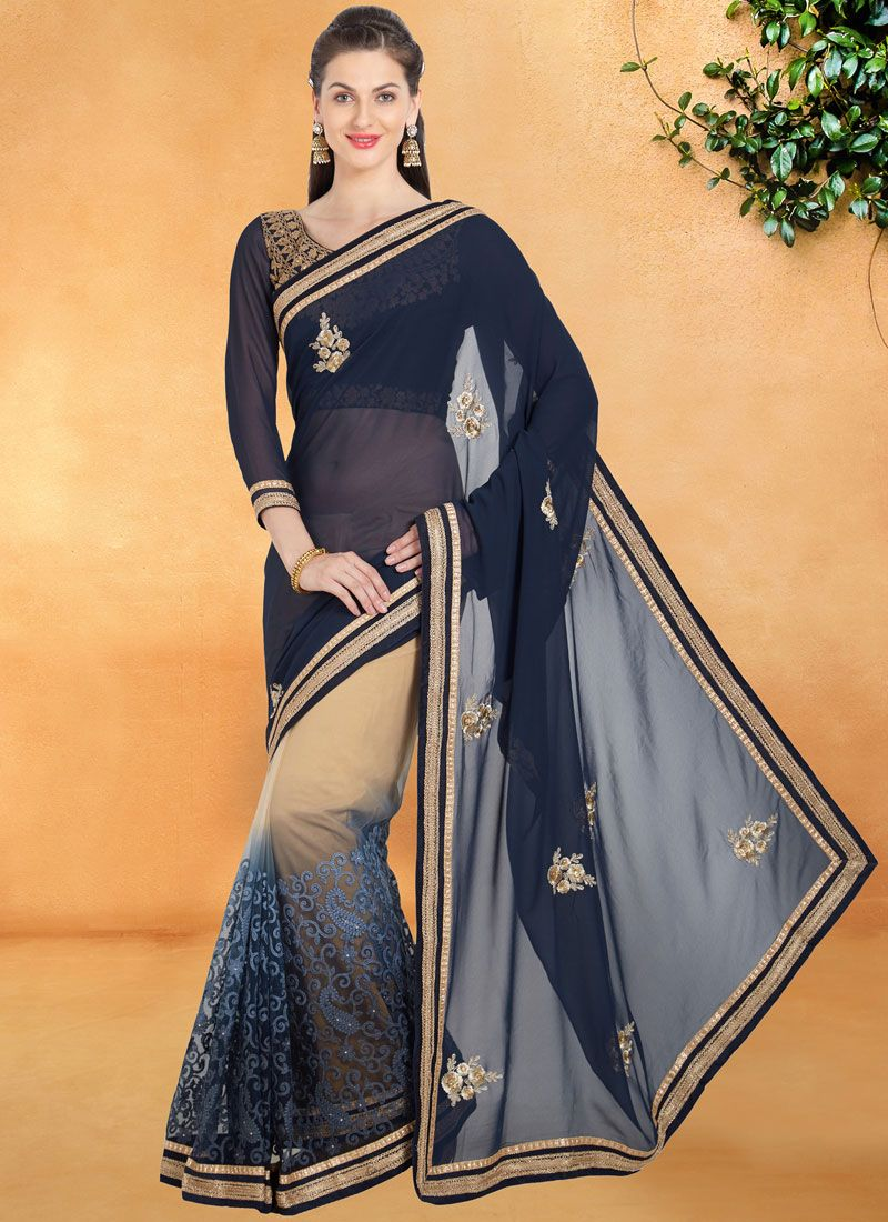 Patch Border Work Navy Blue Shaded Saree