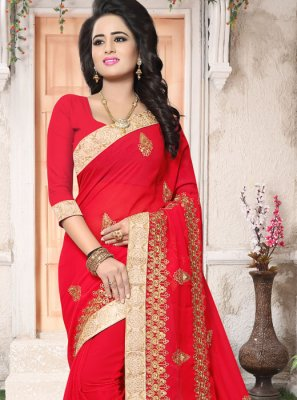 Patch Border Work Red Faux Georgette Classic Saree