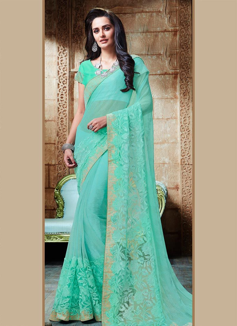 Patch Border Work Shimmer Georgette Designer Saree