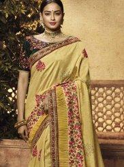 Patch Border Yellow Art Silk Traditional Designer Saree