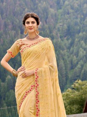 Patch Border Yellow Classic Saree