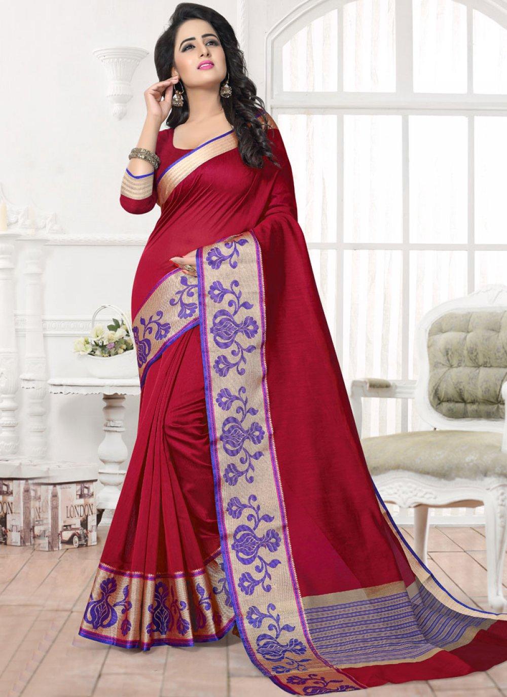 Patch Work Work Maroon Silk Saree