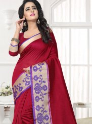 Patch Work Work Maroon Silk Saree