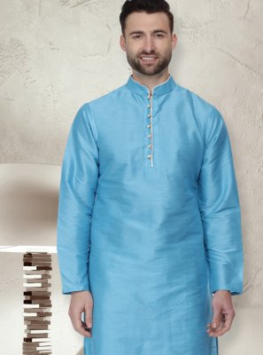 Patchwork Dupion Silk Kurta Pyjama in Blue