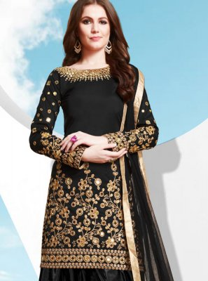 Patiala Salwar Kameez Embroidered Tafeta Silk in Black