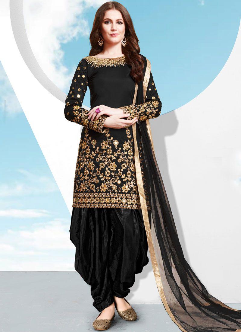 Patiala Salwar Kameez Embroidered Tafeta Silk in Black
