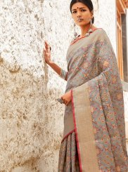 Patola Silk  Abstract Print Designer Saree in Grey