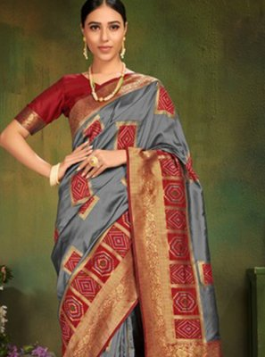 Patola Silk  Grey Machine Embroidery  Classic Designer Saree