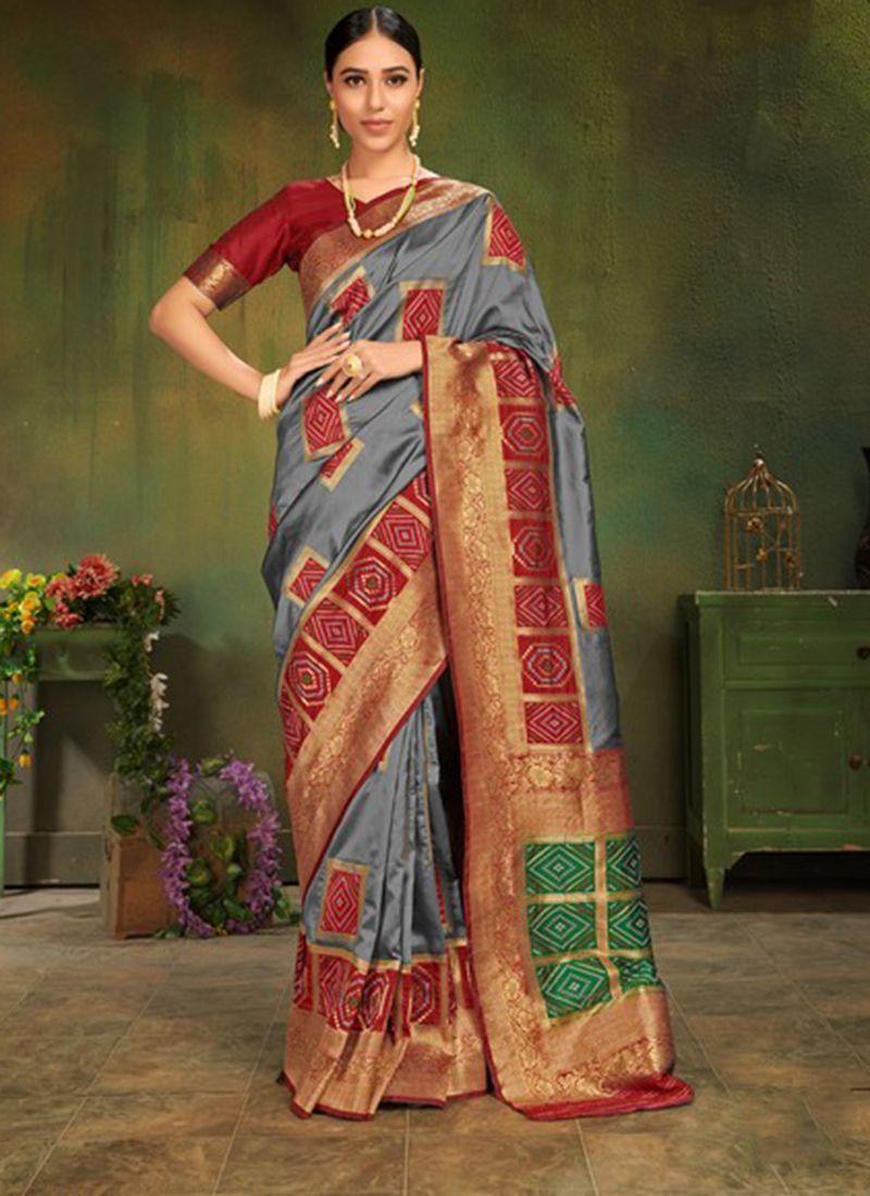 Patola Silk  Grey Machine Embroidery  Classic Designer Saree