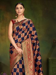 Patola Silk  Navy Blue Machine Embroidery  Classic Designer Saree