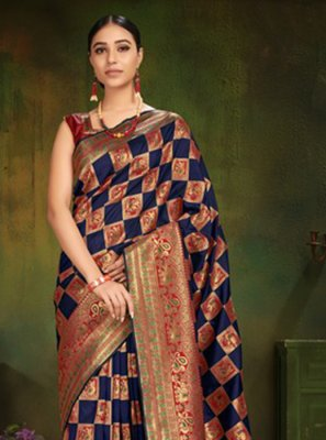 Patola Silk  Navy Blue Machine Embroidery  Classic Designer Saree