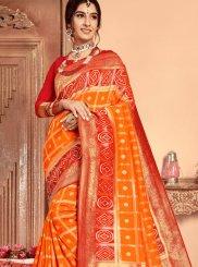 Patola Silk  Orange Abstract Print Classic Saree